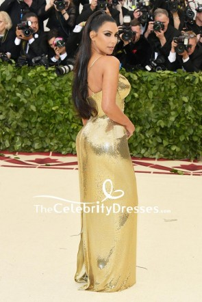 Kim Kardashian Gold Sequin Formal Dress 2018 Met Gala TCD8226