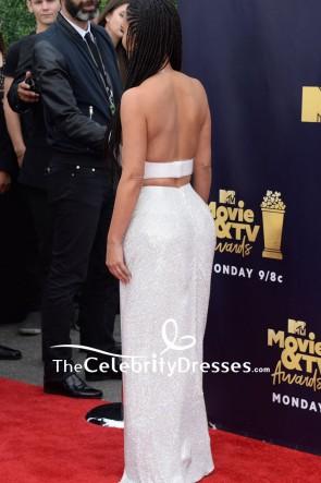 Kim Kardashian White And Silver Two Pieces Maxi Dress 2018 MTV Movie And TV Awards TCD7910