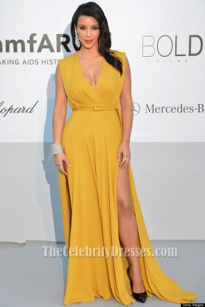 kim kardashian Yellow Prom Dress amfAR's Cinema Against Aids Gala
