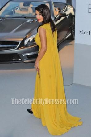 Kim Kardashian Gelb Ballkleid Amfars Kino gegen Aids Gala Festliches Kleid