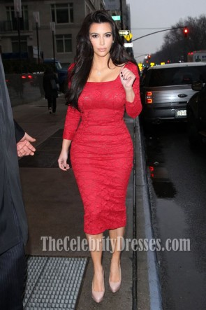 Kim Kardashian Red Lace Cocktail Dress Party Celebrity Dresses