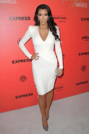 Kim Kardashian White Cocktail Dress Hollywood Style Awards Red Carpet