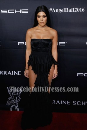 Kourtney Kardashian Black Strapless Corset Evening Prom Gown 2016 Angel Ball