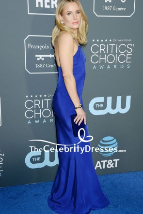 Kristen Bell Royal Blue Evening Dress With Spaghetti Straps 2019 Critics' Choice Awards TCD8256