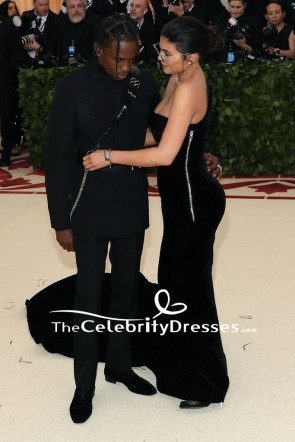 Kylie Jenner Black Cut Out Strapless Evening Formal Dress 2018 Met Gala TCD7864
