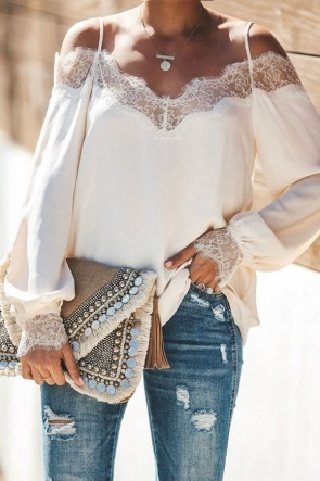 White Lace Panel Off Shoulder Blouse