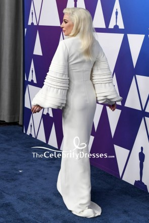 Lady Gaga Ivory Column Evening Dress With Long Sleeves Oscar nominees luncheon TCD8282