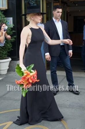Dame Gaga schwarze Spaghetti-Bügel-Abend-langes Abschlussball-Kleid