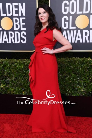 Lauren Graham Red One-shoulder Evening Dress 2020 Golden Globes TCD8811