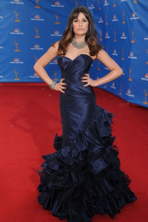 Lea Michele Mermaid Navy Evening Formal Gown 62nd Emmy Awards