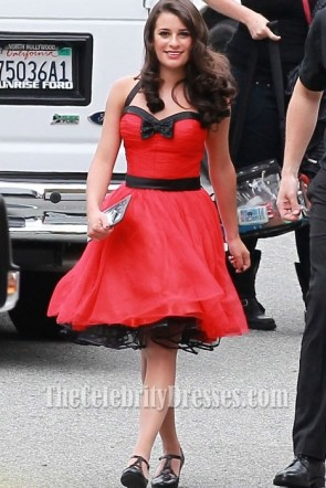 Lea Michele Red Short Halter Cocktail Dress Party Dresses in Glee