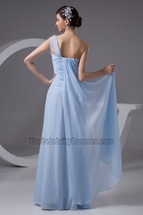 Light Sky Blue One Shoulder Prom Gown Evening Dresses