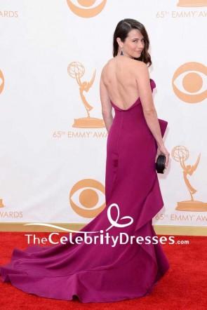 Linda Cardellini Trägerloses rückenfreies Abendkleid mit Rüschen 2013 Emmy Awards Rotes Teppichkleid