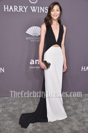 Liu Wen Black And White Cutout Evening Dress 19th Annual amfAR New York Gala Prom Gown