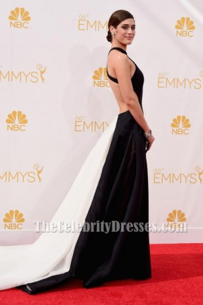 Lizzy Caplan Backless Formal Dress 2014 Emmy Awards Roter Teppich