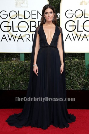 Mandy Moore Dark Navy Evening Dress 74th Annual Golden Globe Awards Red Carpet Celebrity Gown