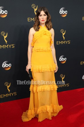 Mandy Moore Elegant Orange Ruffle Evening Prom Dress 2016 Emmy Awards 1