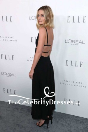 Margot Robbie Black Plunging Cut Out Backless Evening Prom Dress ELLE's 24th Annual Women TCD7553
