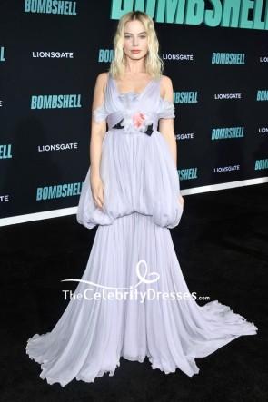 Margot Robbie lila gekräuseltes Abendkleid Screening von 'Bombshell'