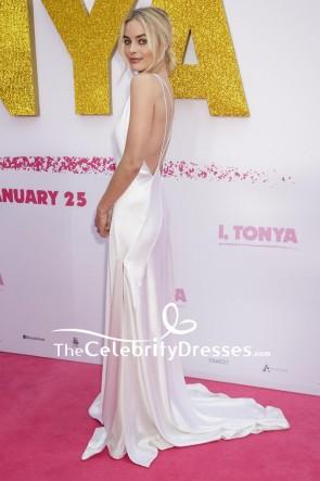 Margot Robbie Weißes, rückenfreies, rückenfreies Abendkleid mit V-Ausschnitt Australische Premiere von I Tonya Red Carpet