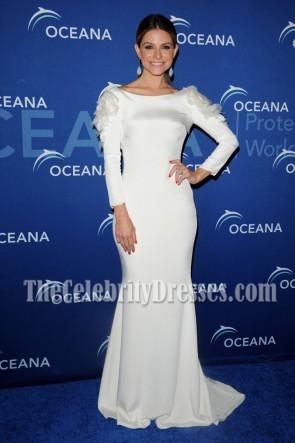 Maria Menounos White Long Sleeve Evening Dress Oceana Partners Award Gala 2