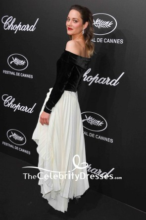 Marion Cotillard Black And White Off-the-Shoulder Dress With Sleeves 2019 Trophee Chopard Dinner TCD8521