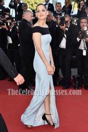 Marion Cotillard elegante off-the-Schulter hoch geschlitzte Abend Abendkleid Cannes 2015