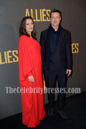 Marion Cotillard Rot Ein Schulter Abend Abendkleid Paris Premiere Von 'Allied'. 2016