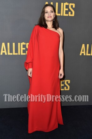Marion Cotillard Red One-shoulder Evening Prom Gown Paris Premiere Of 'Allied.' 2016 4