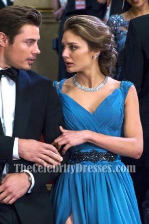 Megan Morrison Gorgeous Blue Slit Evening Dress Movie The Arrangement Gown