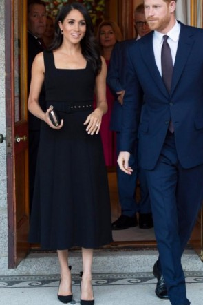Meghan Markle Black Midi Dress With Belt