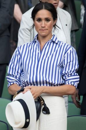 Meghan Markle Blue And White Striped Shirt Wimbledon 2018