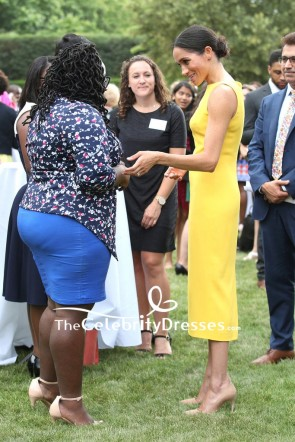 Meghan Markle Bright Yellow Midi Cocktail Dress Your Commonwealth Youth Challenge reception TCD7961