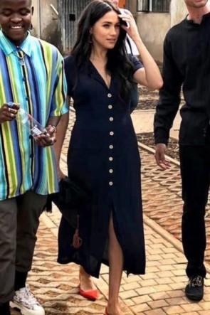 Meghan Markle Dark Navy Shirt Midi Dress