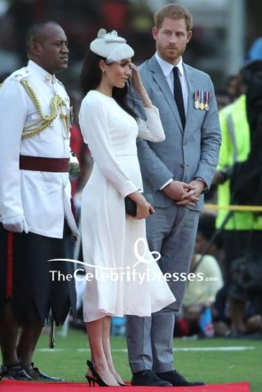 Meghan Markle Ivory Midi Dress With Long Sleeves In Fiji TCD8126