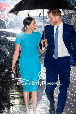 Meghan Markle Light Blue Fitted Midi Dress 2020 Endeavour Fund Award