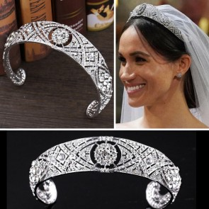 Meghan Markle Silver Wedding Bridal Rhinestone Crown