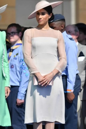 Meghan Markle White Cocktail Dress With Sleeves