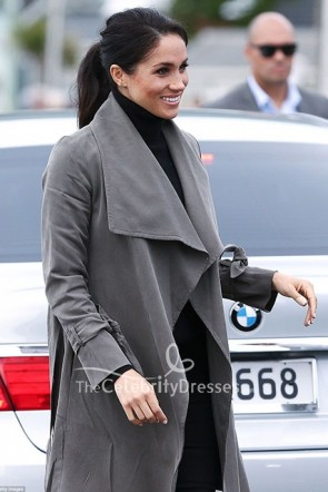 Meghan Markle Grey Belt Closure Tie Sleeves Coat