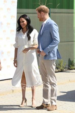 Meghan Markle Einfaches Hemdkleid mit weißem Gürtel Johannesburg
