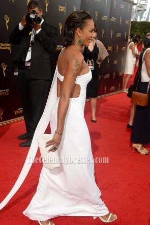 Melanie Brown sexy weiß ausgeschnitten Ein-Schulter Abend Abendkleid 2016 Kreative Kunst Emmy Awards