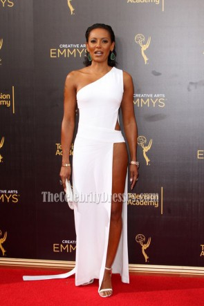 Melanie Brown Sexy White Cutout One-shoulder Evening Prom Gown 2016 Creative Arts Emmy Awards 6