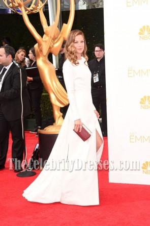 Michelle Monaghan weiße lange Ärmel Abendkleid 2014 Emmy Awards