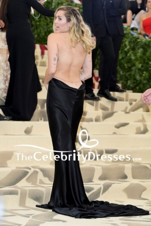 Miley Cyrus 2018 Met Gala Sexy Backless Black Evening Dress TCD7861