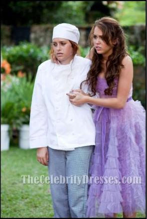 Miley Cyrus lila Kleid vom letzten Lied trägerlos Abschlussball Kleid