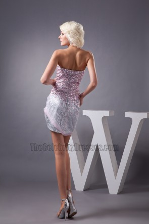 Mini Silver Sequins Strapless Beaded Party Homecoming Dress