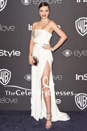 Miranda Kerr Elfenbein trägerlosen Oberschenkel hohen Schlitz Abendkleid 2017 Golden Globes Party
