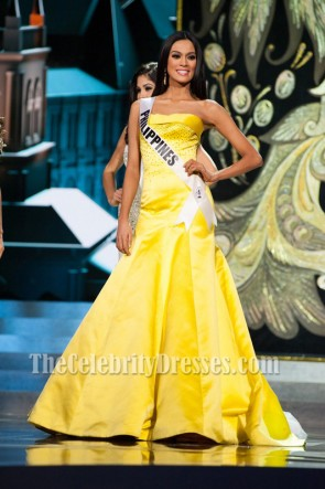 Miss Philippines Ariella Arida Yellow Prom Dress 2013 Miss Universe pageant