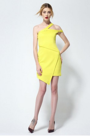 Chic Short Mini Yellow Party Homecoming Dress TCDMU0001