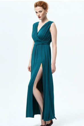Blue V-Neck High Slit Evening Gown TCDMU0023